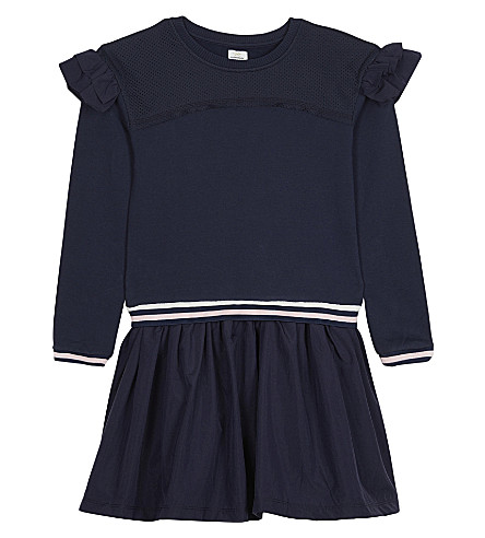 NO ADDED SUGAR Frilled sweatshirt dress 4-12 years (Indigo+glaze
