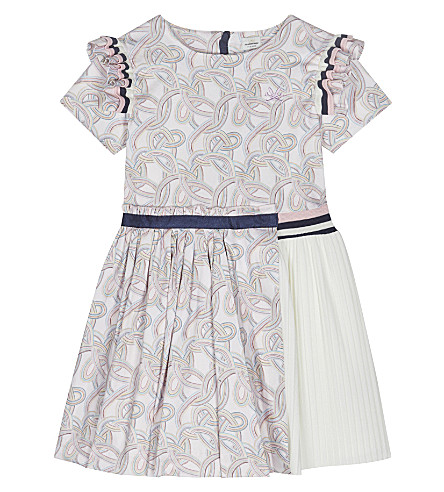 NO ADDED SUGAR Watercolour-striped fit and flare dress 4-12 years (Doodled+stripes