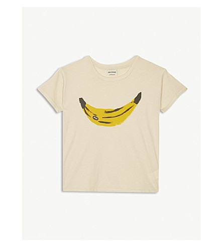 BOBO CHOSES Banana print organic cotton t-shirt 4-11 years (Cream