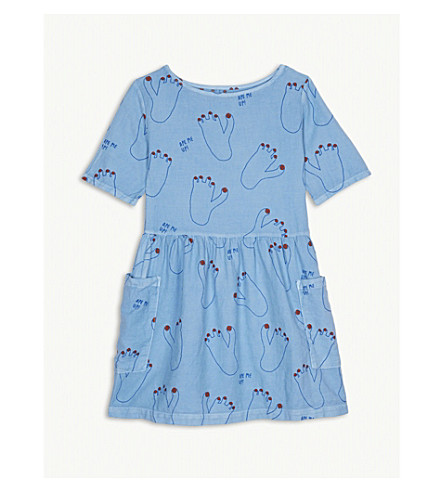 BOBO CHOSES Ape Me Up! footprint piqué cotton dress 4-11 years (Blue