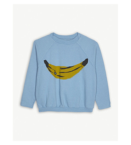 BOBO CHOSES Banana cotton raglan jumper 4-11 years (Blue