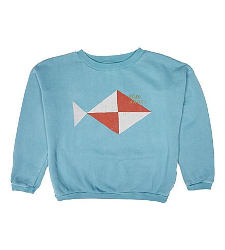 BOBO CHOSES Fish cotton sweatshirt (Blue