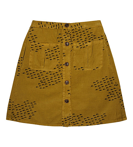BOBO CHOSES Buttons flocks corduroy skirt (Yellow