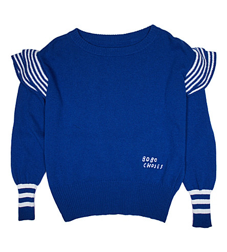 BOBO CHOSES Ruffles knitted jumper (Blue