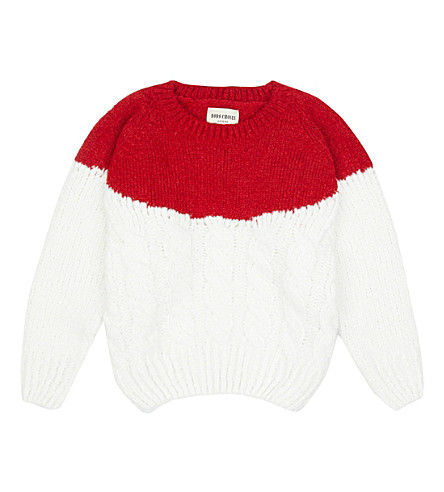BOBO CHOSES Two-tone chunky knit jumper (Cream red