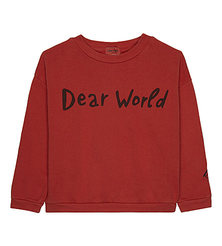 BOBO CHOSES Dear World print organic cotton jumper 4-11 years (Red