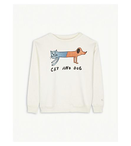 BOBO CHOSES Cat and dog cotton sweatshirt 4-11 years (Cream