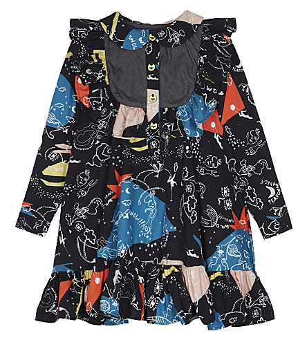 RASPBERRY PLUM Printed Colette collar cotton dress 3-12 years (Black+print