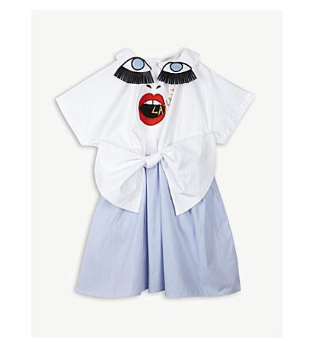 RASPBERRY PLUM Piano crepe mini dress 3-12 years (Blue