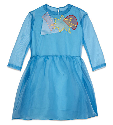 RASPBERRY PLUM Katia organza long-sleeved dress 3-12 years (Blue