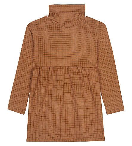 TINY COTTONS Grid turtle neck dress 4-10 years (Brown/black
