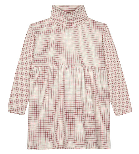 TINY COTTONS Long-sleeved grid turtleneck dress 4-10 years (Pale+pink/red