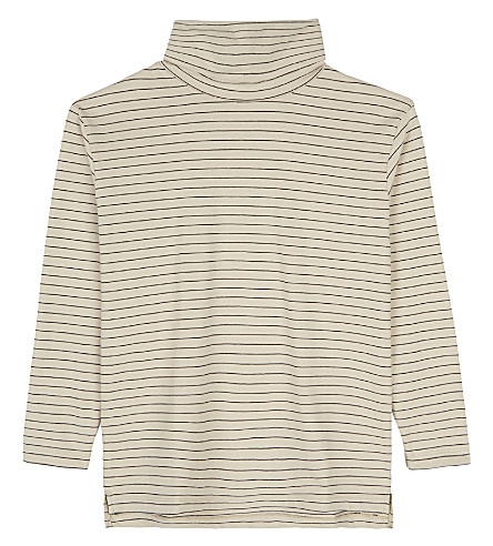 TINY COTTONS Striped turtle neck top 4-10 years (Beige/black