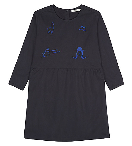 TINY COTTONS Embroidered cotton dress 4-10 years (Navy