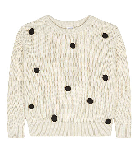 TINY COTTONS Knitted pom pom jumper 4-10 years (Beige/black