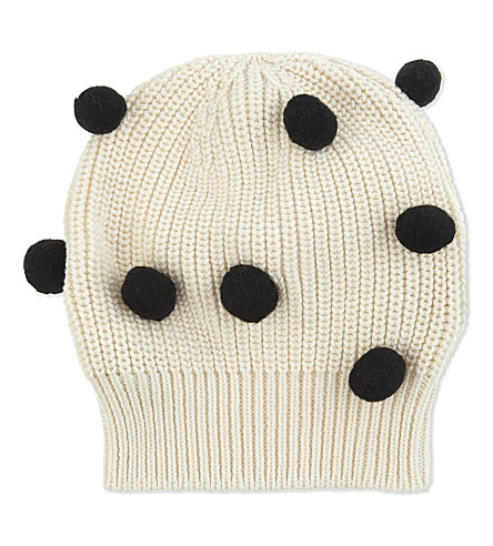 TINY COTTONS Pom pom cotton-wool beanie (Beige/black