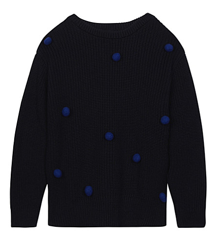 TINY COTTONS Pom pom knitted extra fine merino wool-cotton blend jumper 4-10 years (Dark+navy/blue