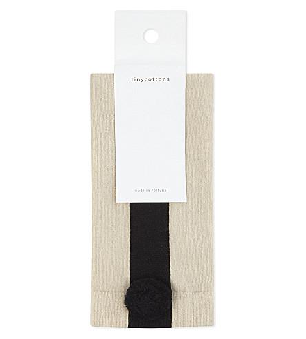 TINY COTTONS Pom pom cotton socks 4-10 years (Beige/black
