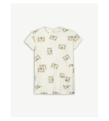 TINY COTTONS Tickets print cotton-blend T-shirt dress 4-10 years (Cream