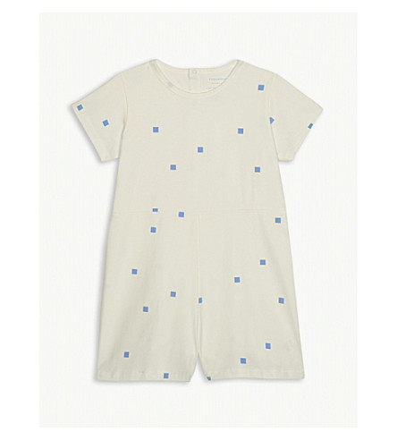 TINY COTTONS Square dots cotton-blend playsuit 4-10 years (Cream
