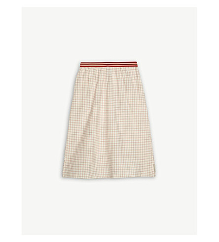 TINY COTTONS Grid mid-length cotton-blend skirt 4-10 years (Cream