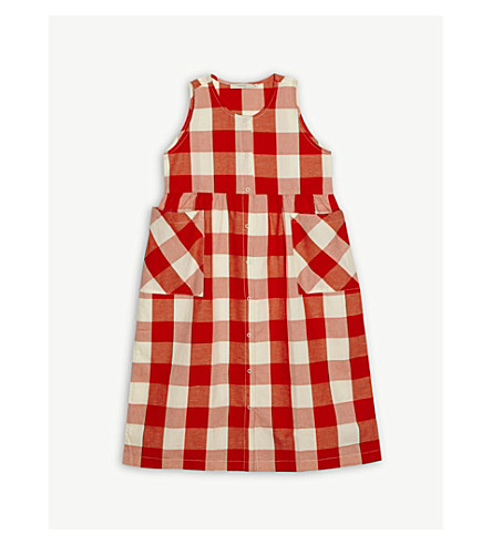 TINY COTTONS Check print cotton-blend dress 4-10 years (Orange