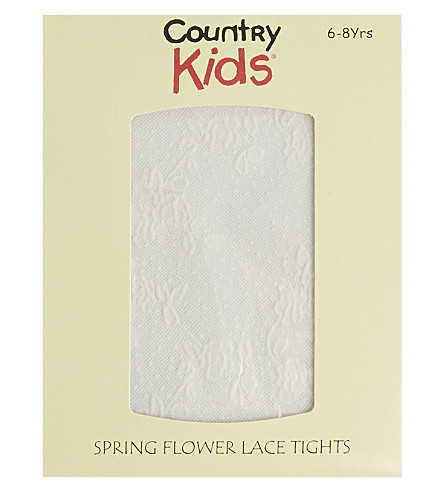 COUNTRY KIDS Flower lace tights 1-11 years (Ivory