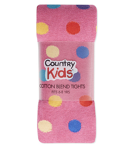COUNTRY KIDS Polka dot tights 6-8 years (Hot+pink