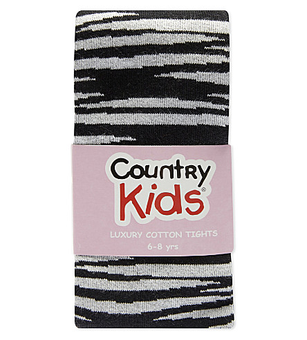 COUNTRY KIDS Animal print cotton-blend tights 1-11 years (Black+tiger