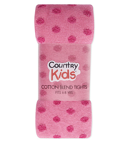 COUNTRY KIDS Fluffy dot tights 6-8 years (Hot+pink