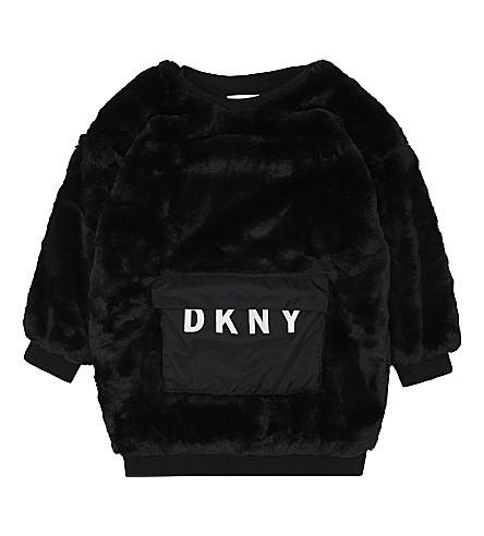 DKNY Faux-fur long-sleeved jumper dress 8-16 years (Black