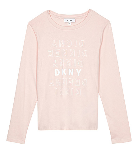 DKNY Long-sleeved logo top 6-16 years (Pale+pink