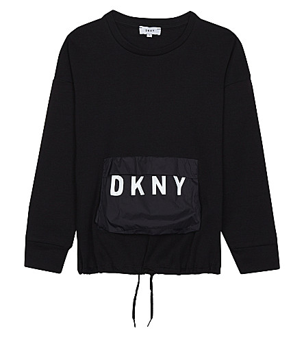 DKNY Branded pouch cotton jumper 6-16 years (Black