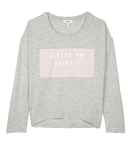 DKNY My Selfie print long-sleeved top 6-16 years (Grey