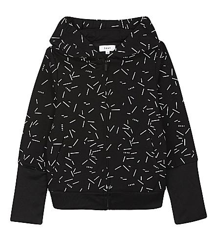 DKNY Printed zip-through hoody (Black