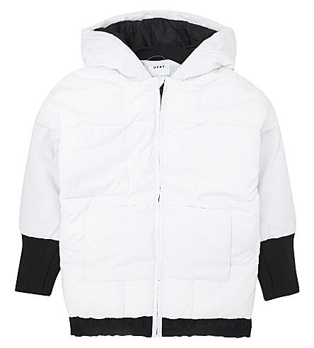 DKNY Long cuff brand print puffa coat (White