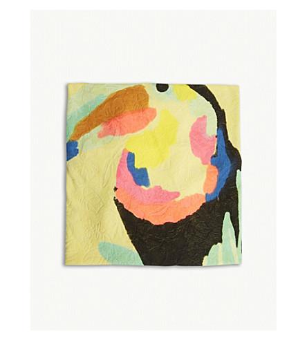 BILLIE BLUSH Parrot print pom-pom towel (Yellow
