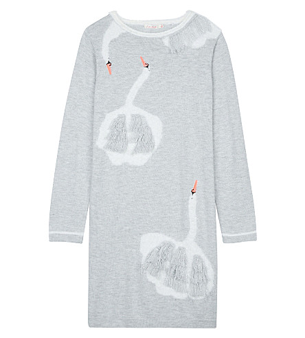 BILLIE BLUSH Swan print knitted dress 4-12 years (Grey