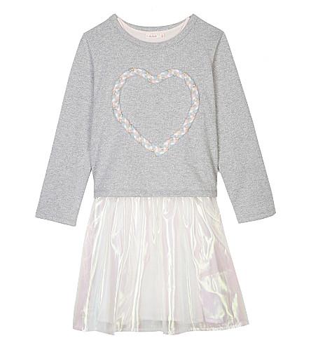 BILLIE BLUSH Heart organza cotton dress 4-12 years (Grey