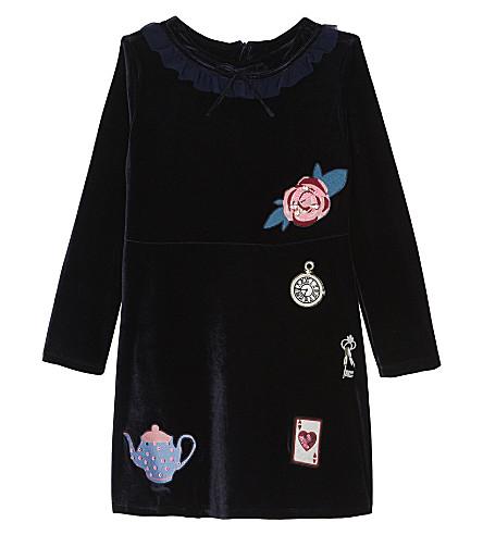 BILLIE BLUSH Embroidered velvet dress 4-12 years (Navy
