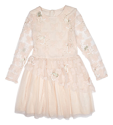 BILLIE BLUSH Floral tulle dress 4-12 years (Pale+pink