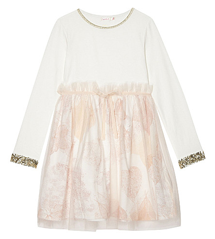 BILLIE BLUSH Sequinned cotton long-sleeved dress 4-12 years (Pale+pink