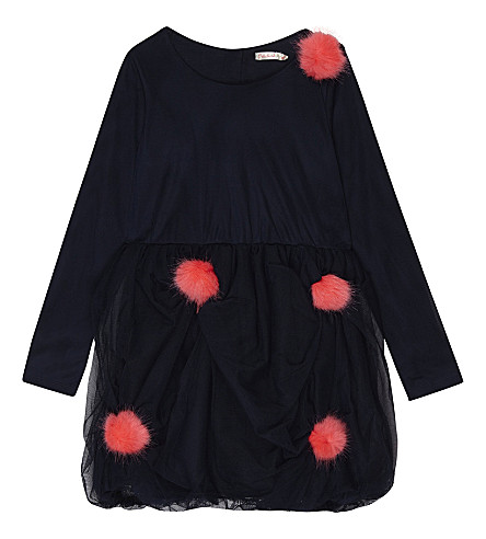 BILLIE BLUSH Tulle pom pom cotton dress 4-12 years (Navy