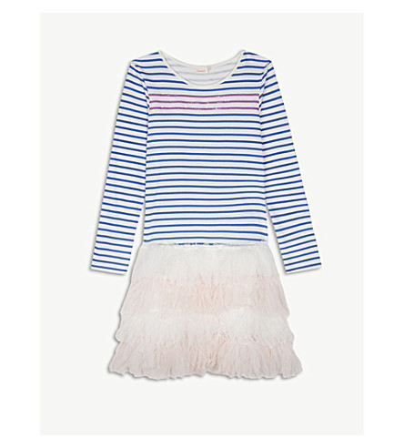 BILLIE BLUSH Tulle stripe tutu dress 4-12 years (Blue