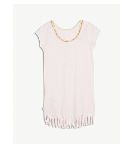 BILLIE BLUSH Teepee print fringed cotton dress 4-12 years (Baby+pink