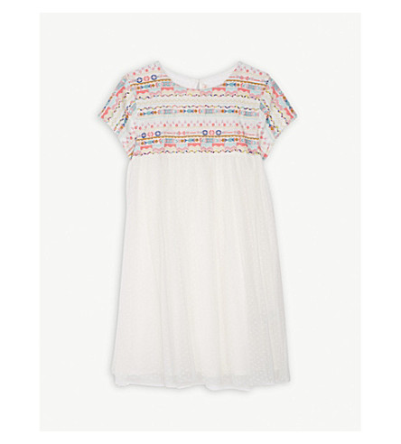 BILLIE BLUSH Embroidered mesh dress 4-12 years (Turquoise