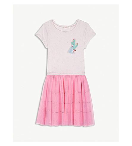 BILLIE BLUSH Cactus mesh cotton-blend dress 4-12 years (Pink