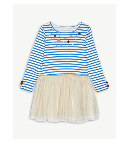 BILLIE BLUSH Striped cotton-blend tutu dress 4-12 years (Blue