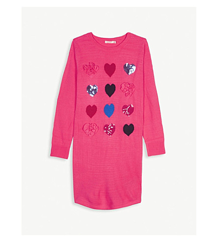 BILLIE BLUSH Knitted cotton-blend heart dress 4-12 years (Pink