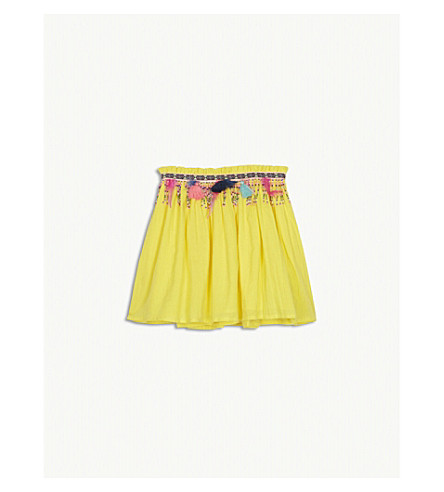 BILLIE BLUSH Beaded and feathered cotton blend skirt 4-12 years (Yellow